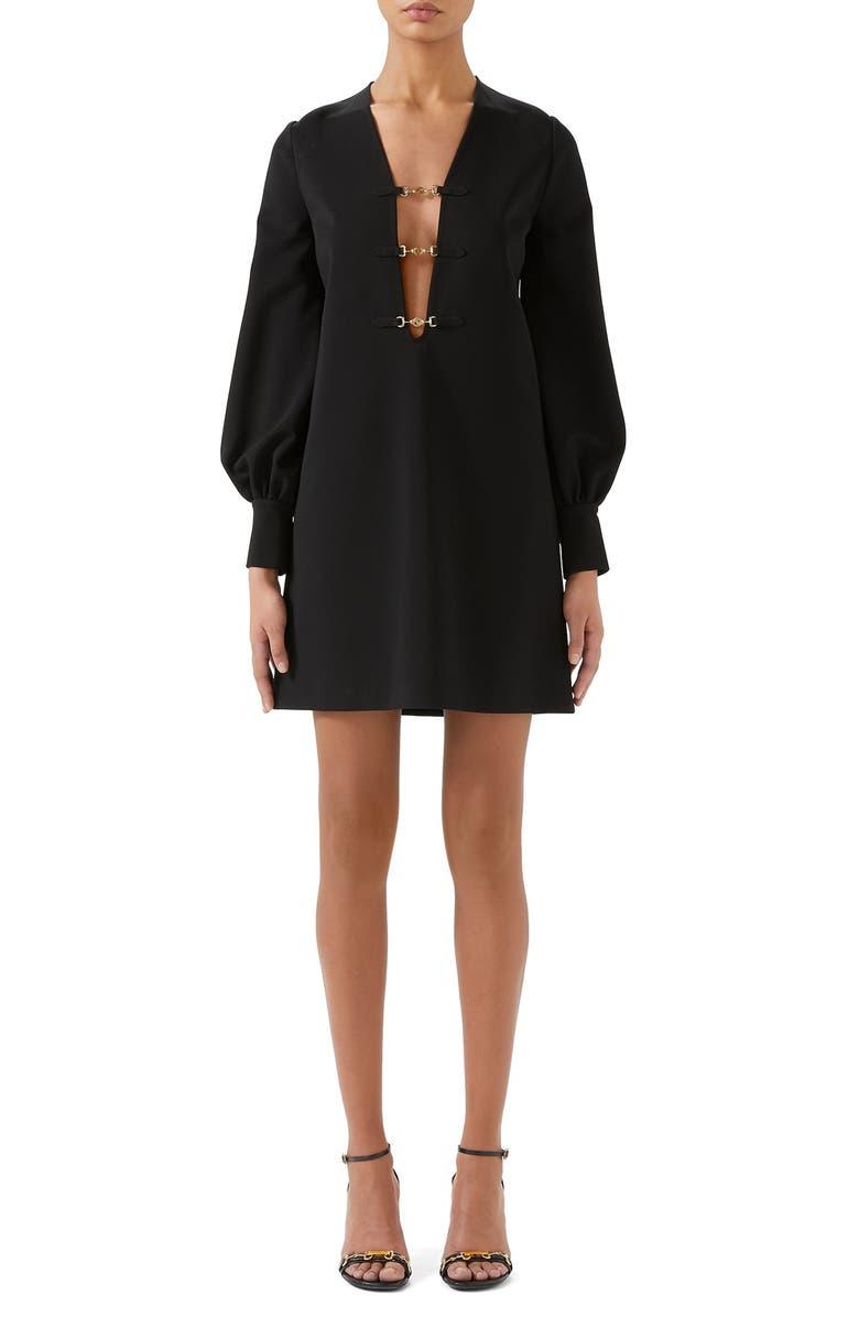 GUCCI Interlocking-G Horsebit Long Sleeve Compact Stretch Jersey Minidress, Main, color, BLACK