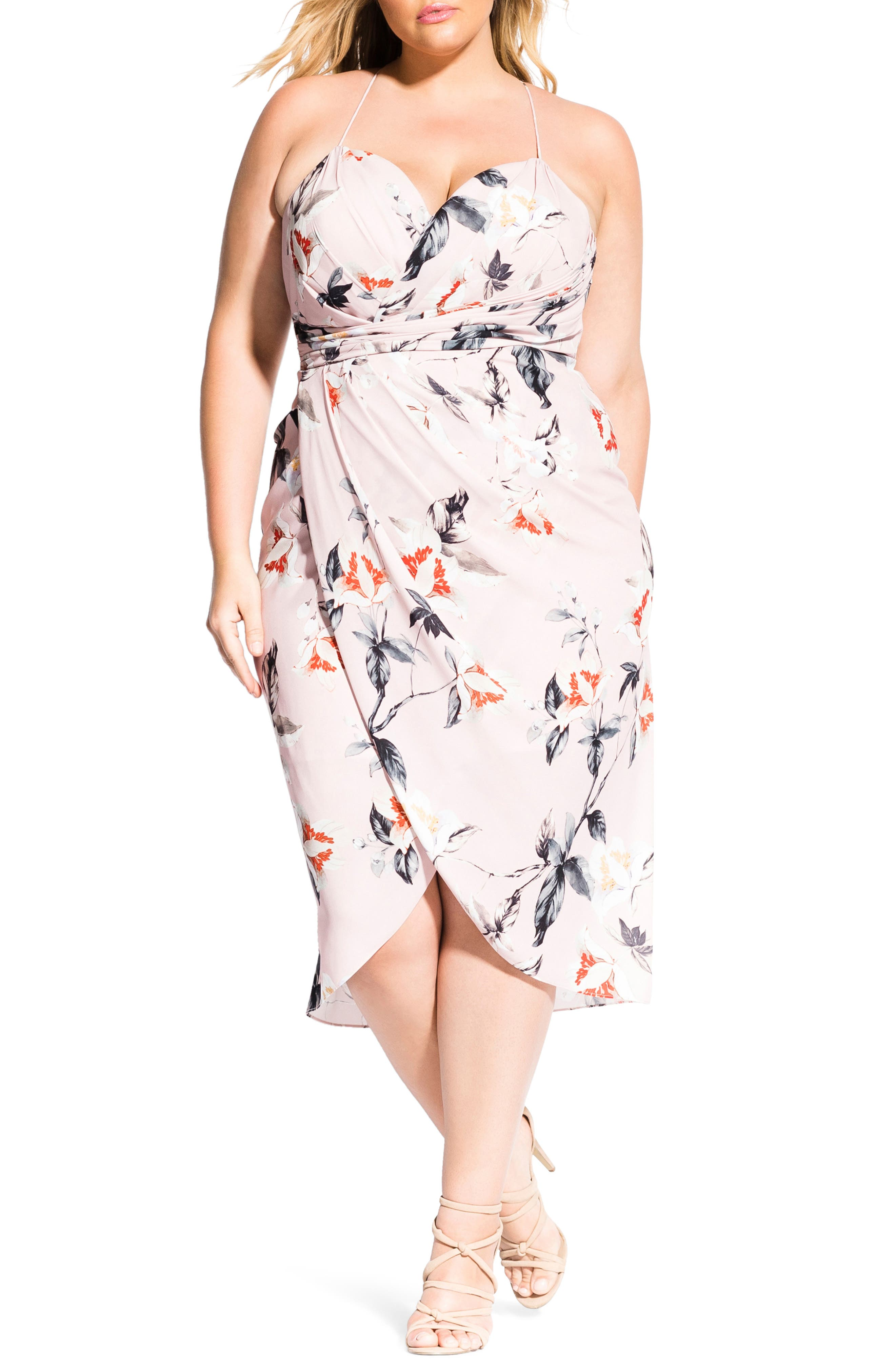 Plus Size City Chic Exotic Lily Sleeveless Dress, Red