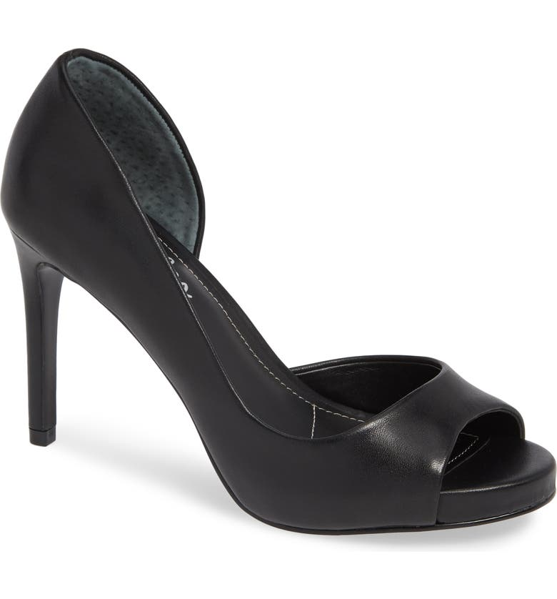 CHARLES BY CHARLES DAVID Chess Open Toe Pump, Main, color, BLACK LEATHER