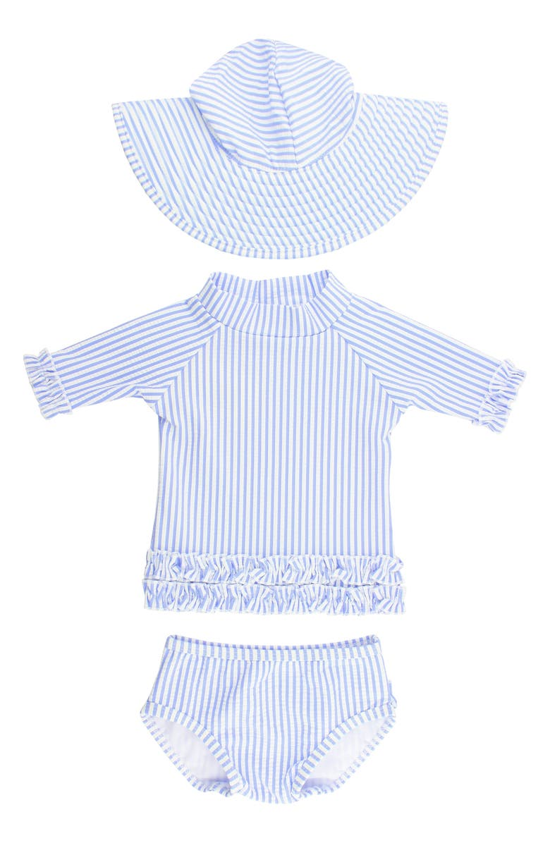 RUFFLEBUTTS Seersucker Two-Piece Rashguard Swimsuit & Hat Set, Main, color, PERIWINKLE