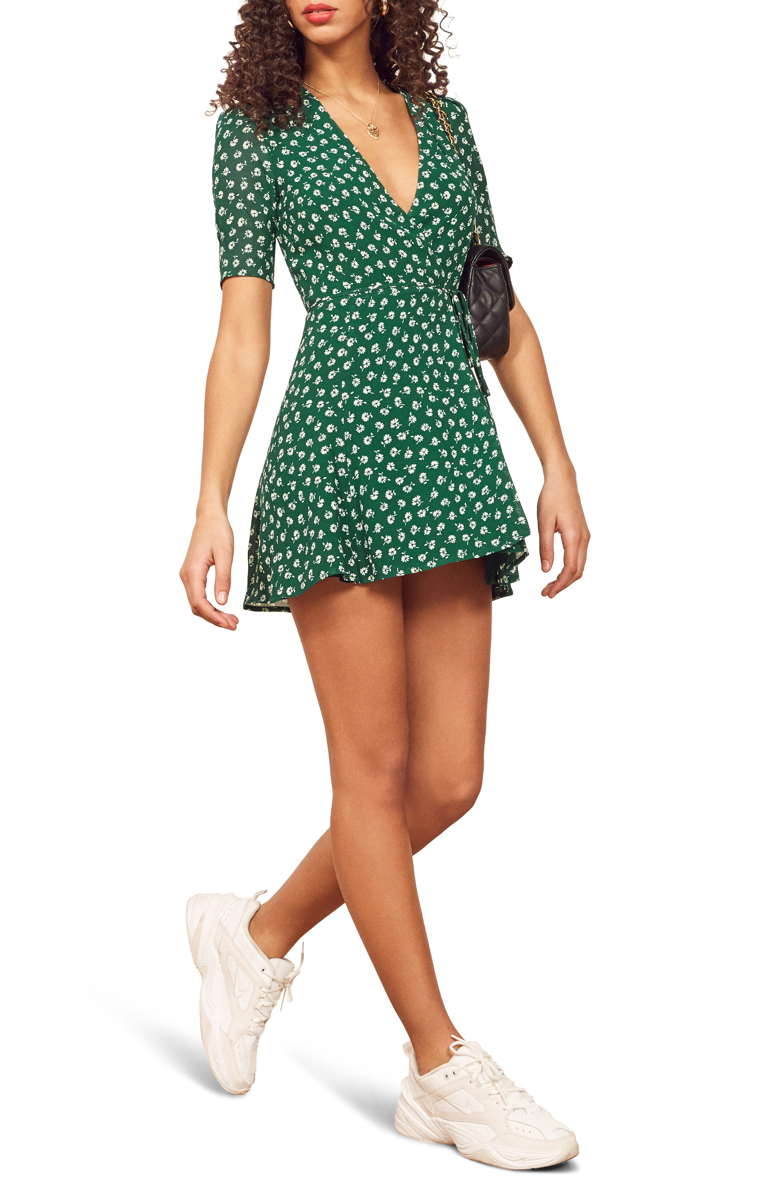 Reformation Lucky Wrap Dress, Green