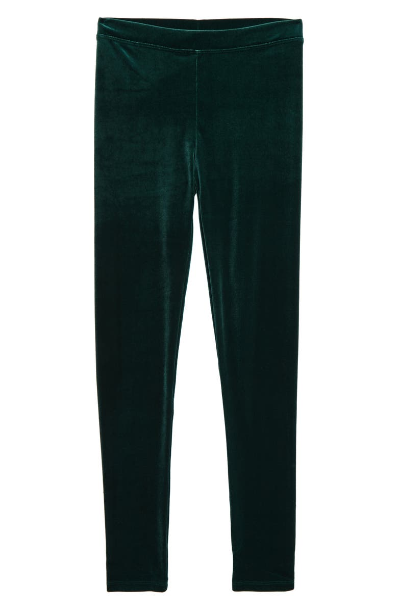 CREWCUTS BY J.CREW Stretch Velvet Leggings, Main, color, DEEP ALPINE