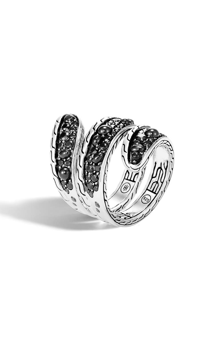 JOHN HARDY Classic Chain Wrap Ring, Main, color, SILVER/ BLACK SAPPHIRE