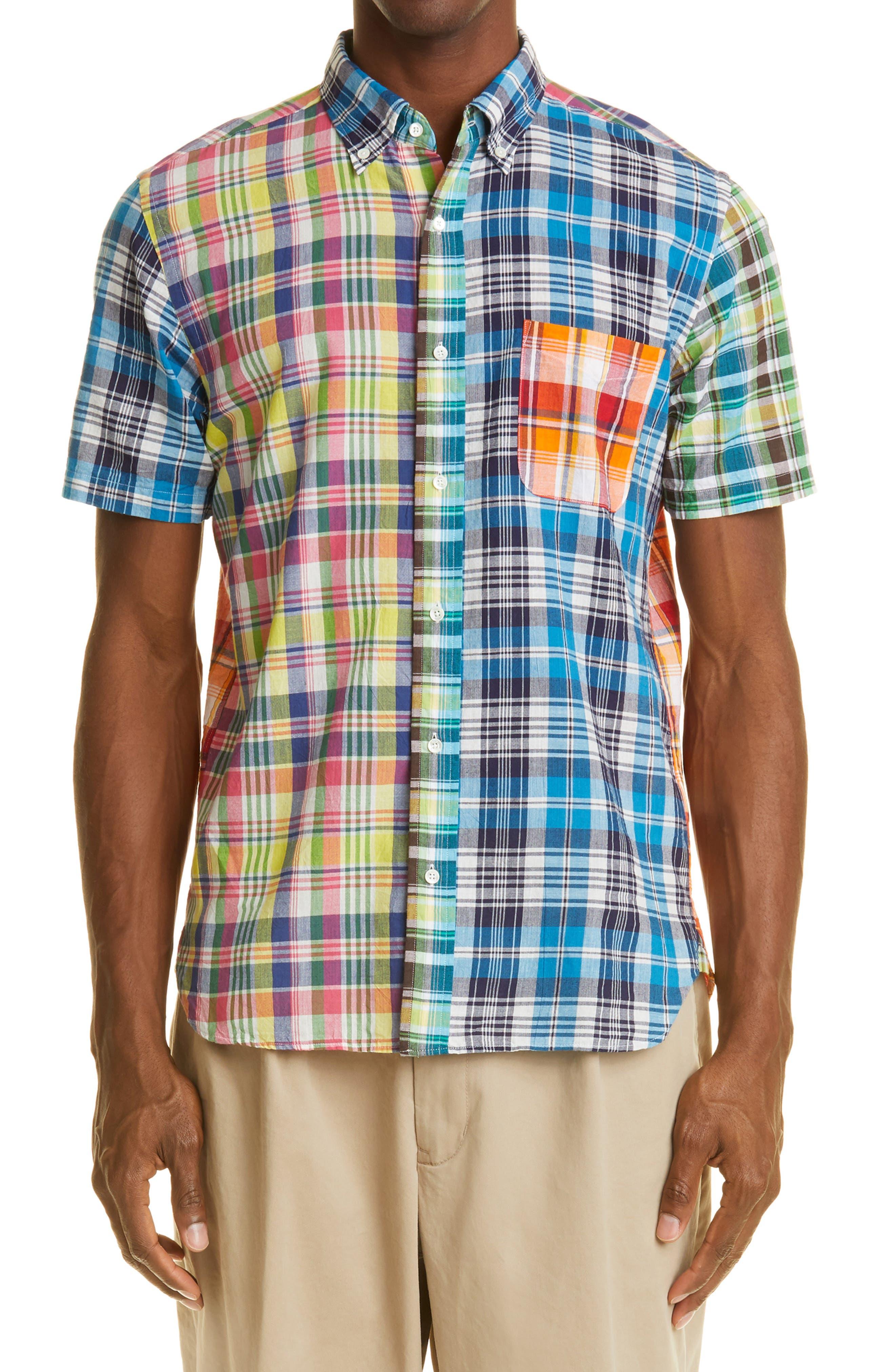 Madras Plaid Short Sleeve Button-Down Shirt