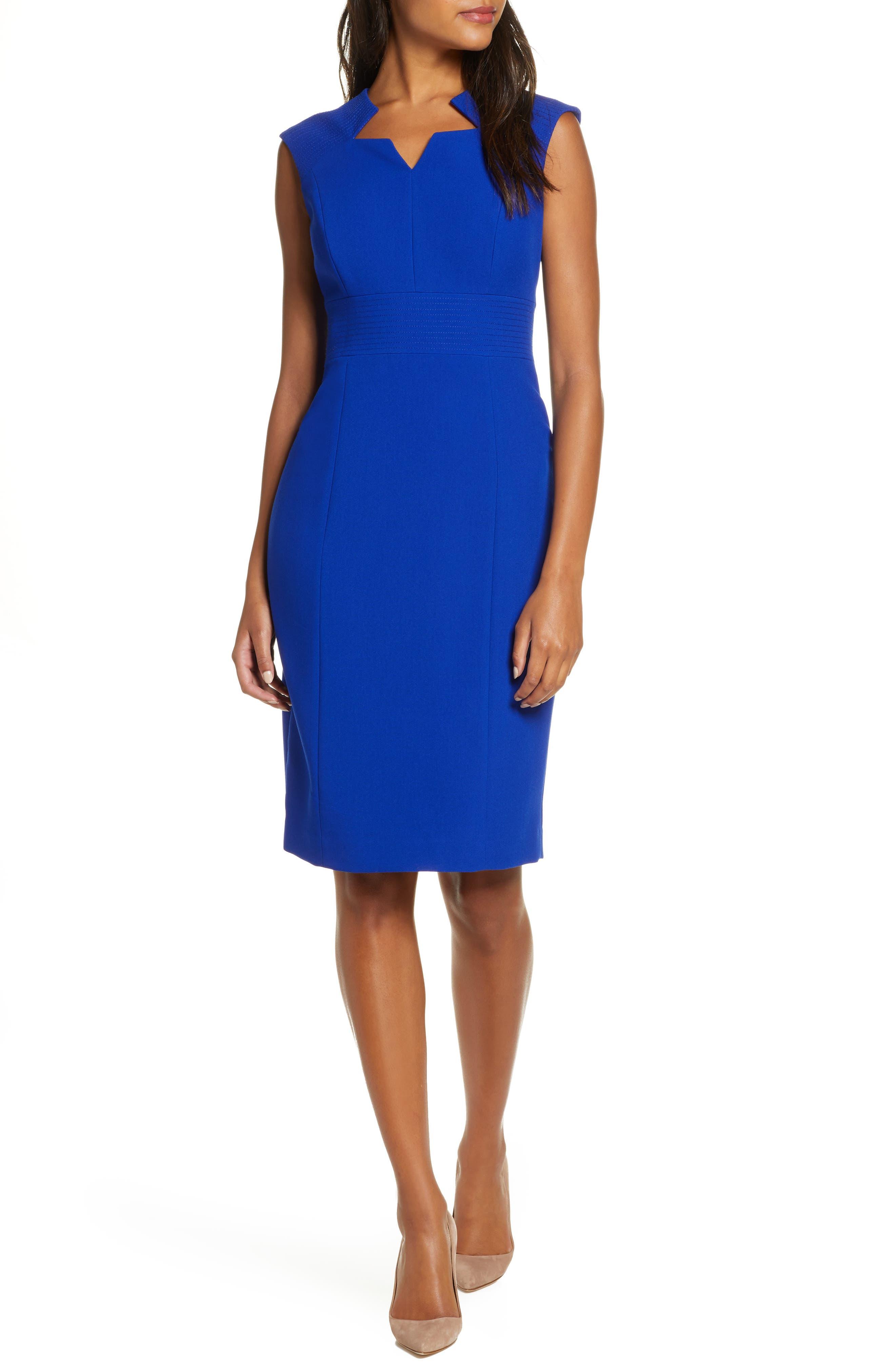 Tahari Star Neckline Crepe Sheath Dress, Blue