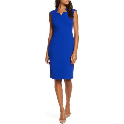 Tahari Star Neckline Crepe Sheath Dress, Blue