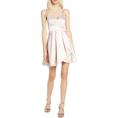Sequin Hearts Satin Faux Wrap Cocktail Dress, Pink