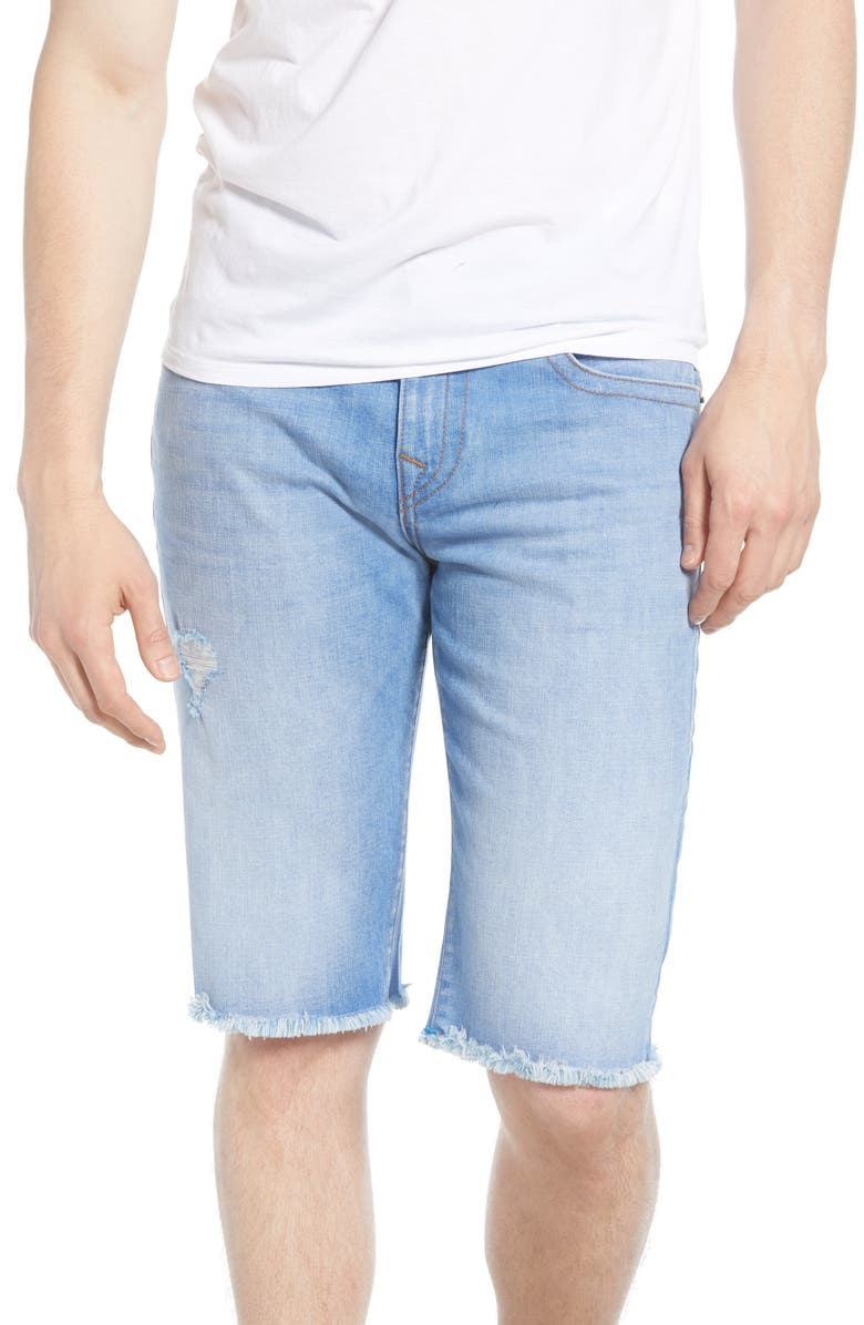 TRUE RELIGION BRAND JEANS Ricky Cutoff Denim Shorts, Main, color, WORN BRIGHT SUNLIGHT