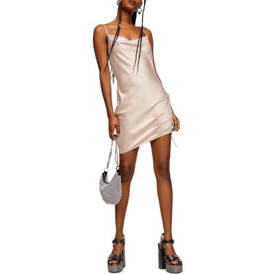 Topshop Ruched Satin Mini Slip Dress, US (fits like 14) - Pink