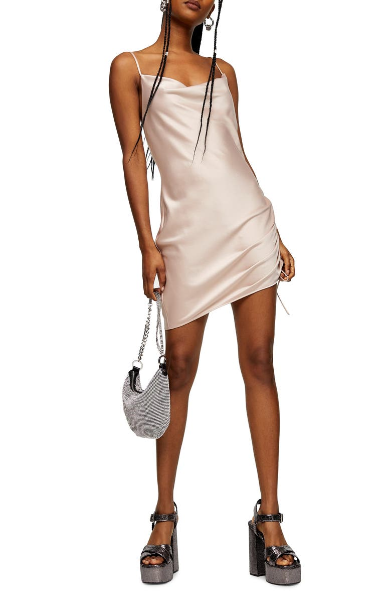 TOPSHOP Ruched Satin Mini Slip Dress, Main, color, PINK