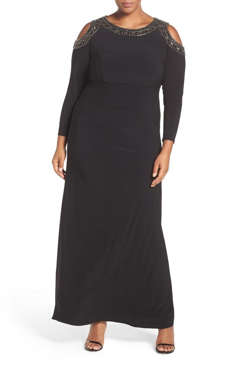 XSCAPE Embellished Cold Shoulder Shirred Jersey Gown, Main, color, 011