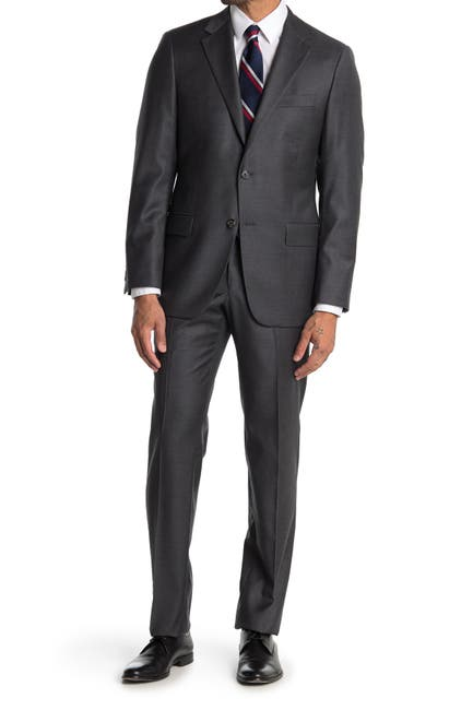 Image of Hickey Freeman Solid Charcoal Classic Fit Wool Suit