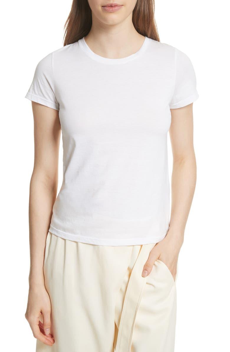 VINCE Essential Crewneck Top, Main, color, WHITE