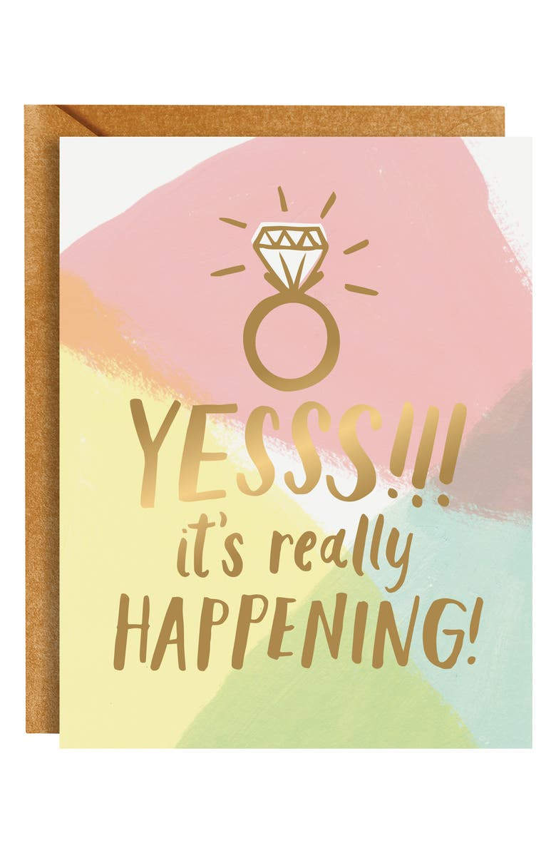 PAPER SOURCE Yesss Engaged Greeting Card, Main, color, 100