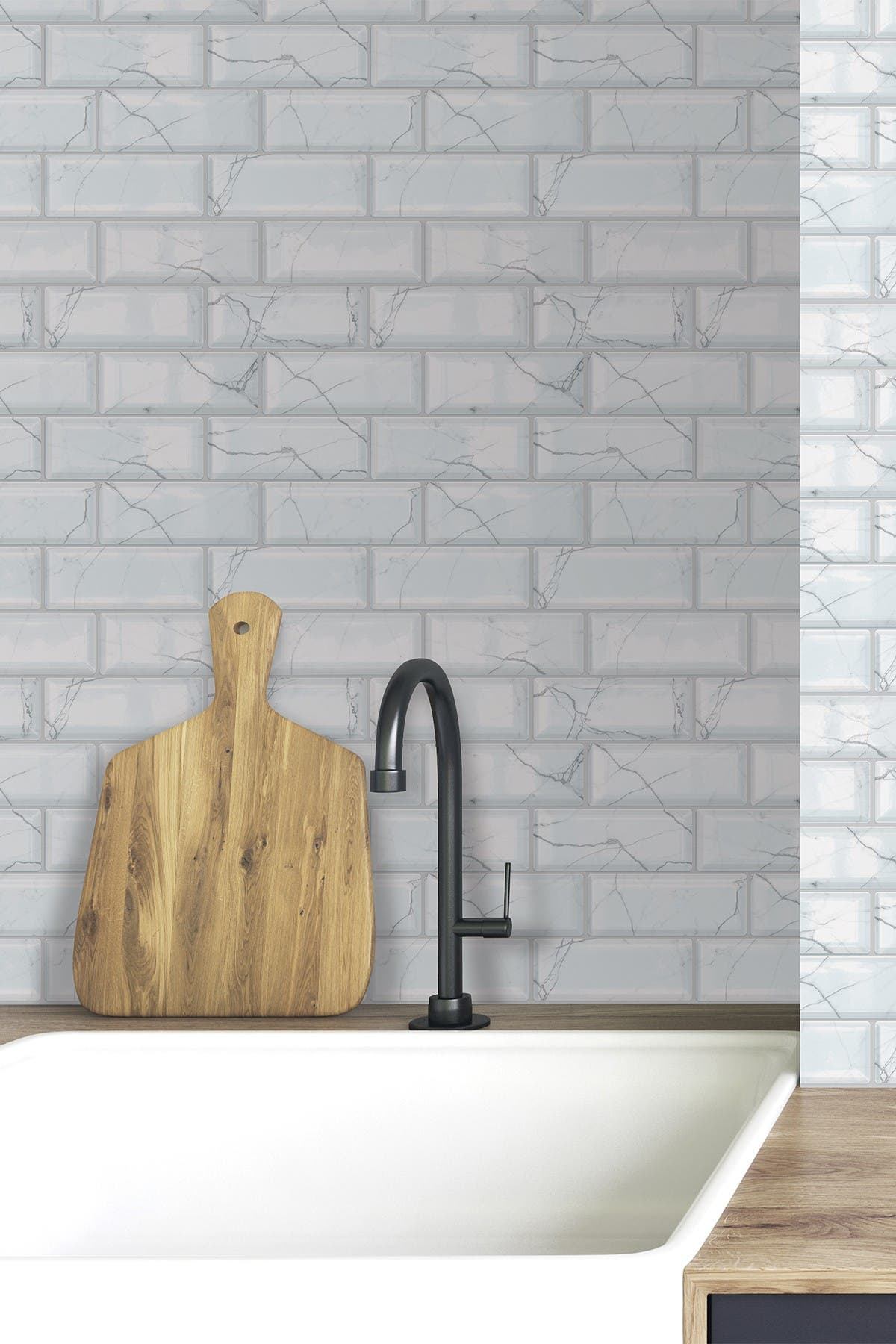Image of WalPlus White Marble Electric 3D Metro Sticker Tiles Premium Wall Splashbacks Mosaics