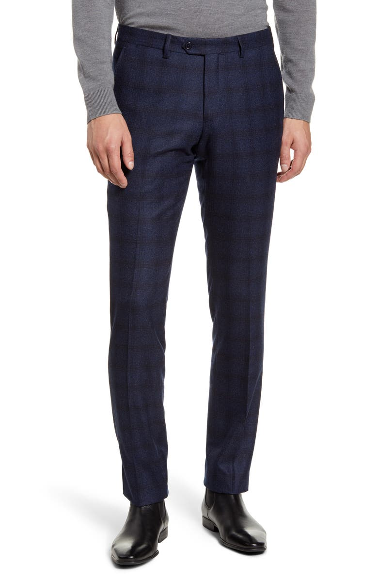 CHRISTOPHER BATES Slim Fit Check Wool Pants, Main, color, NAVY