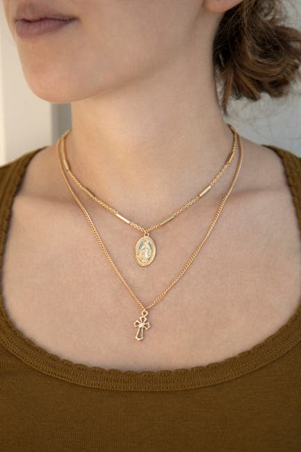 Image of Ettika 18K Gold Plated Mary & Cross Chain Necklace Set
