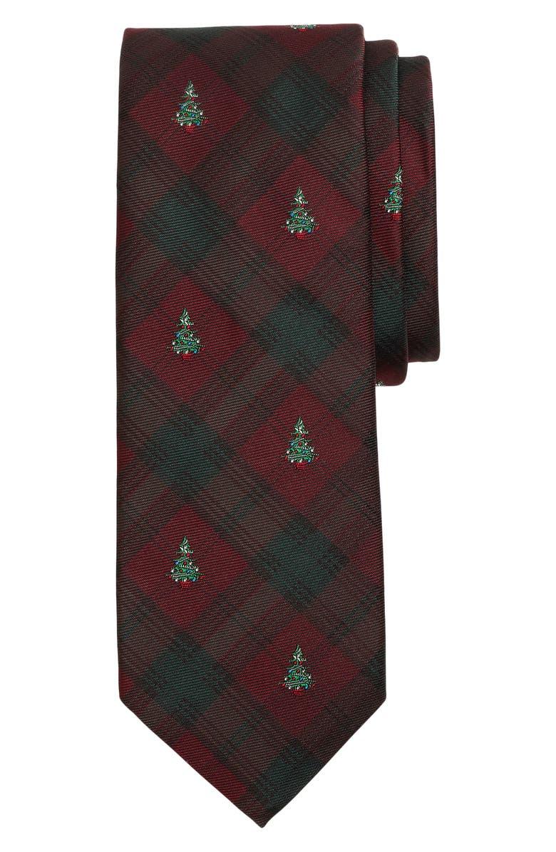 BROOKS BROTHERS Holiday Tree Silk Tie, Main, color, DARK RED