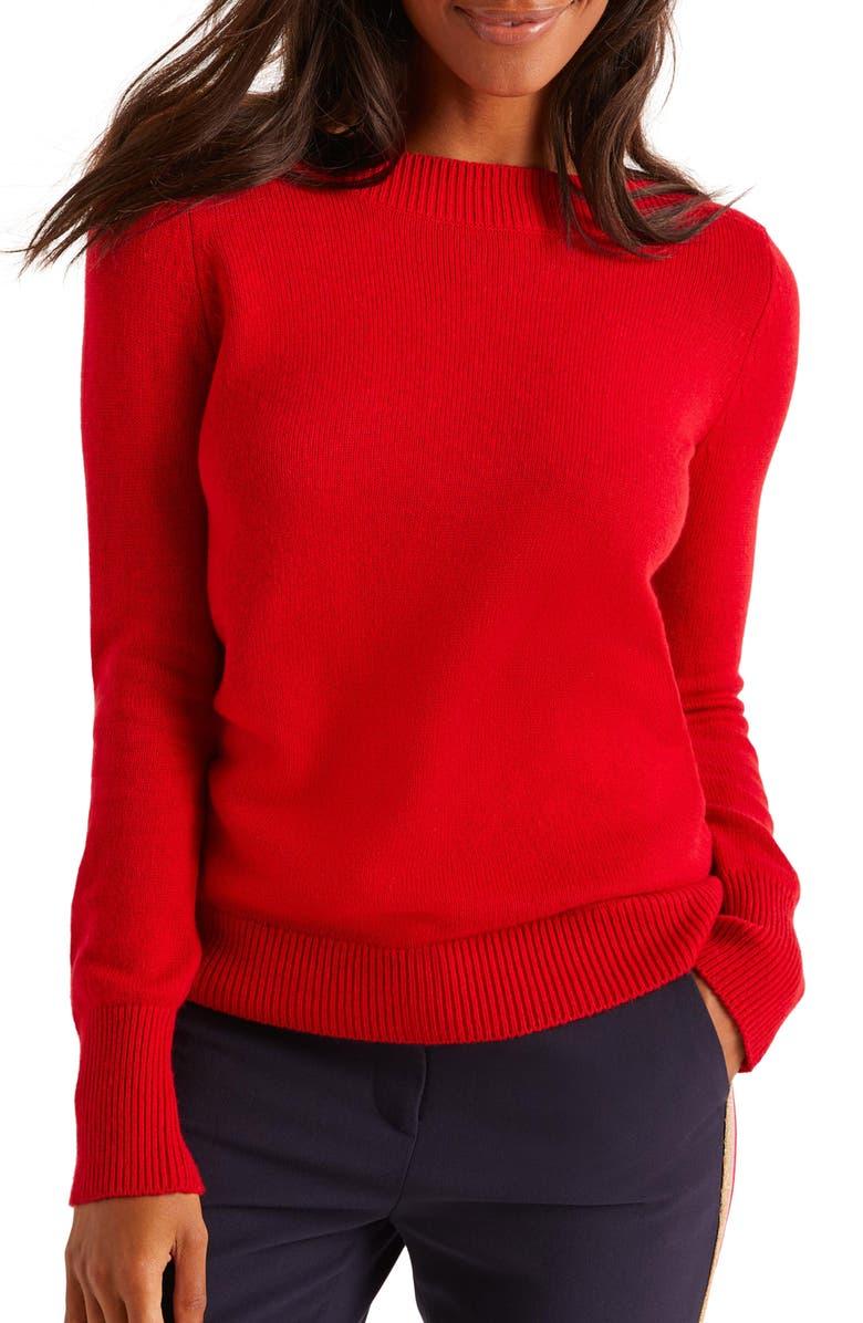 BODEN Peggy Button Cuff Sweater, Main, color, POINSETTIA