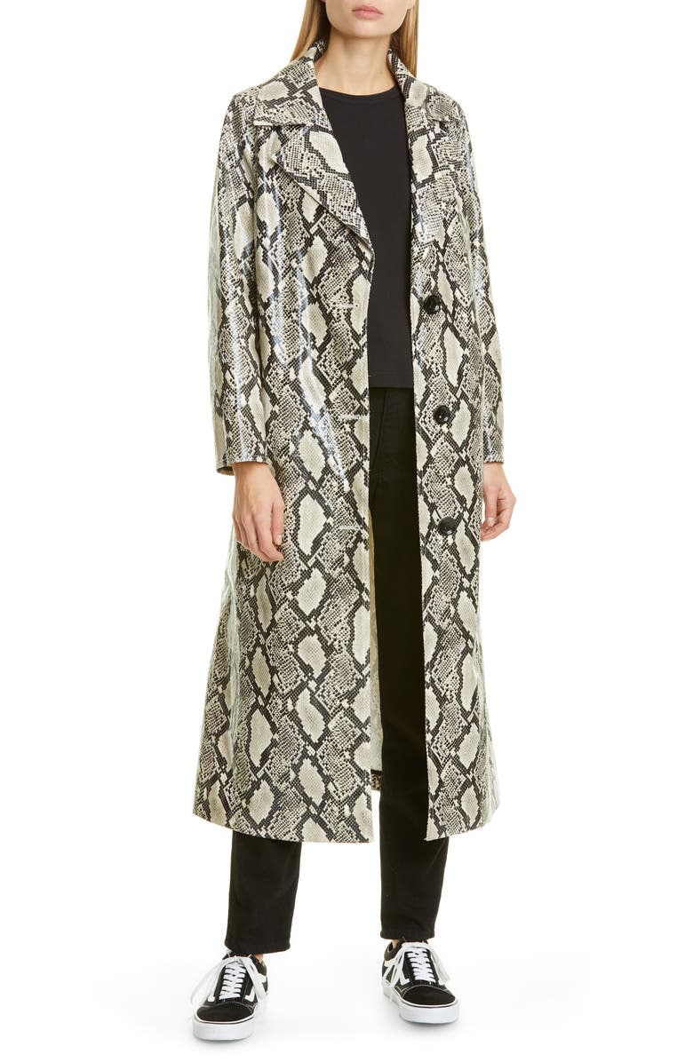 STAND STUDIO Mollie Snake Print Faux Leather Coat, Main, color, BEIGE SNAKE