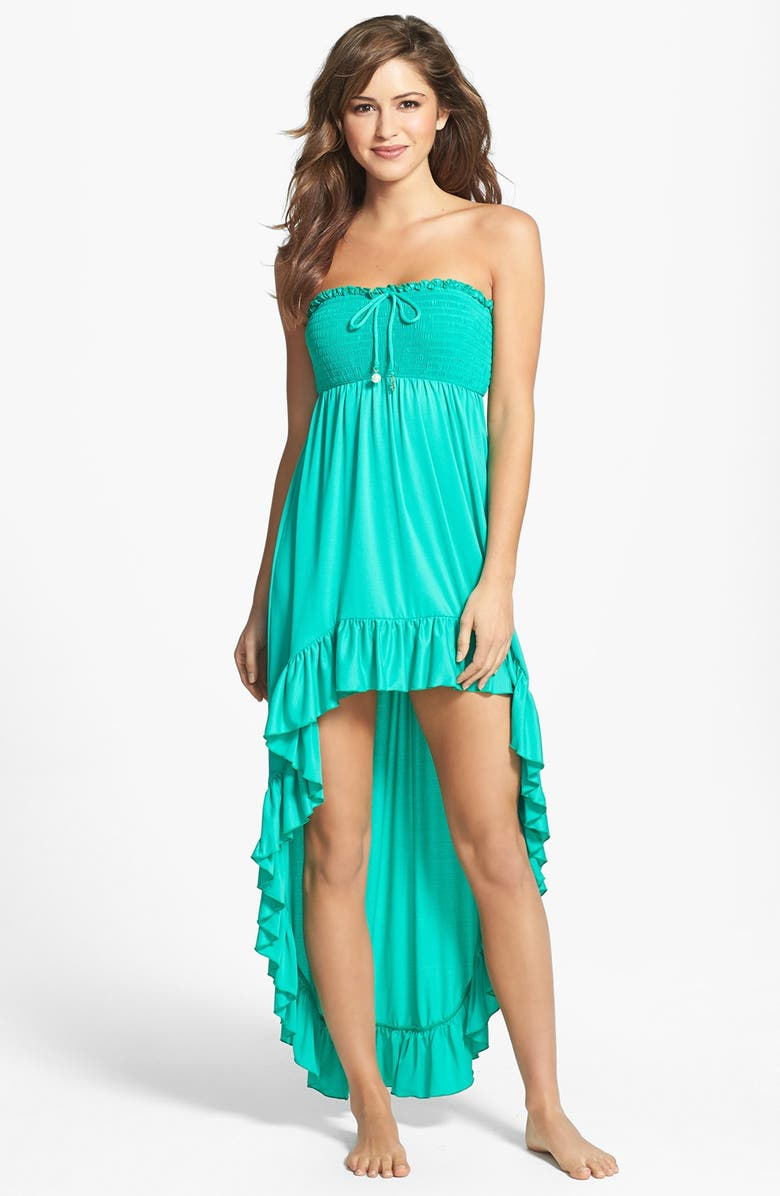 99bcf0cdd1ae8 Juicy Couture Beach 'Bow Chic' Smocked High/Low Cover-Up Dress ...