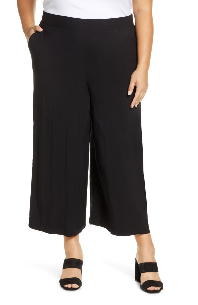 GIBSON x International Women's Day The Mom In Style Crop Wide Leg Pants, Main, color, BLACK