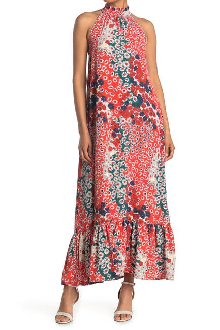 Image of MELLODAY Floral Crepe Sleeveless Maxi Dress