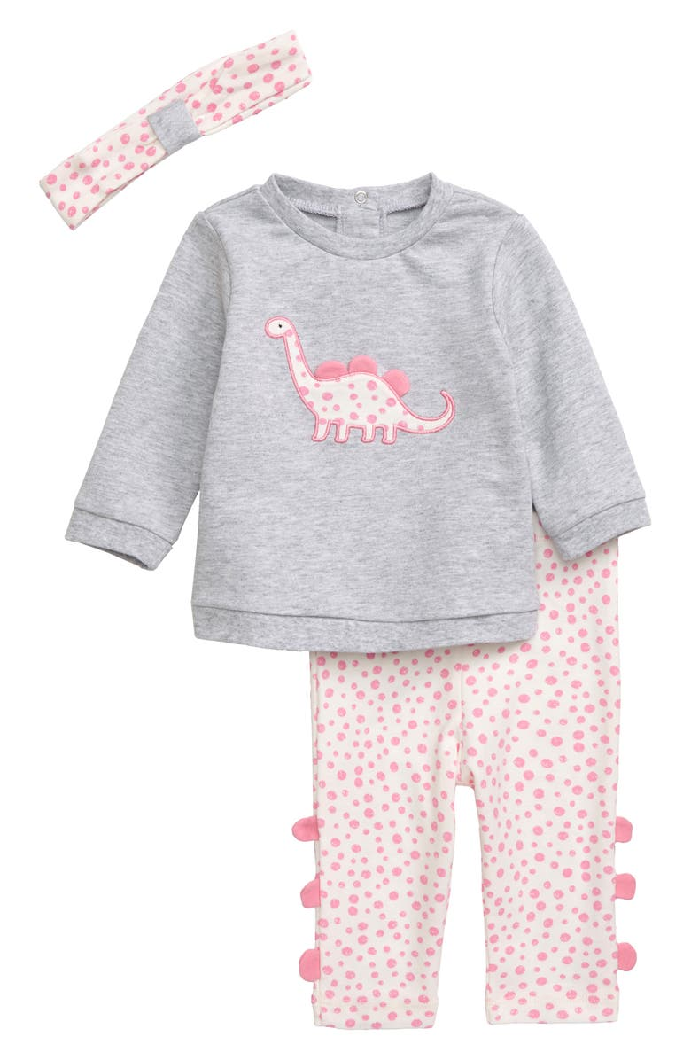 LITTLE ME Dino Girl Sweatshirt, Leggings & Headband Set, Main, color, PINK