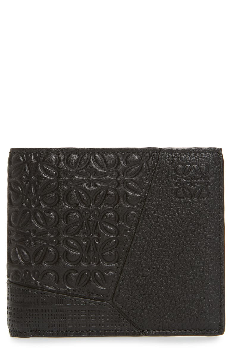 LOEWE Puzzle Bifold Leather Wallet, Main, color, 001