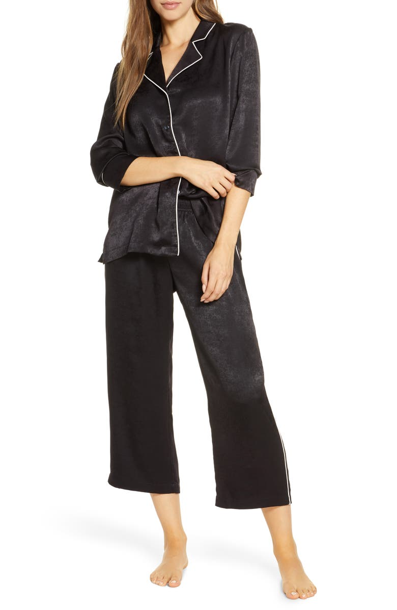 NORDSTROM Lingerie Washed Satin Pajamas, Main, color, BLACK