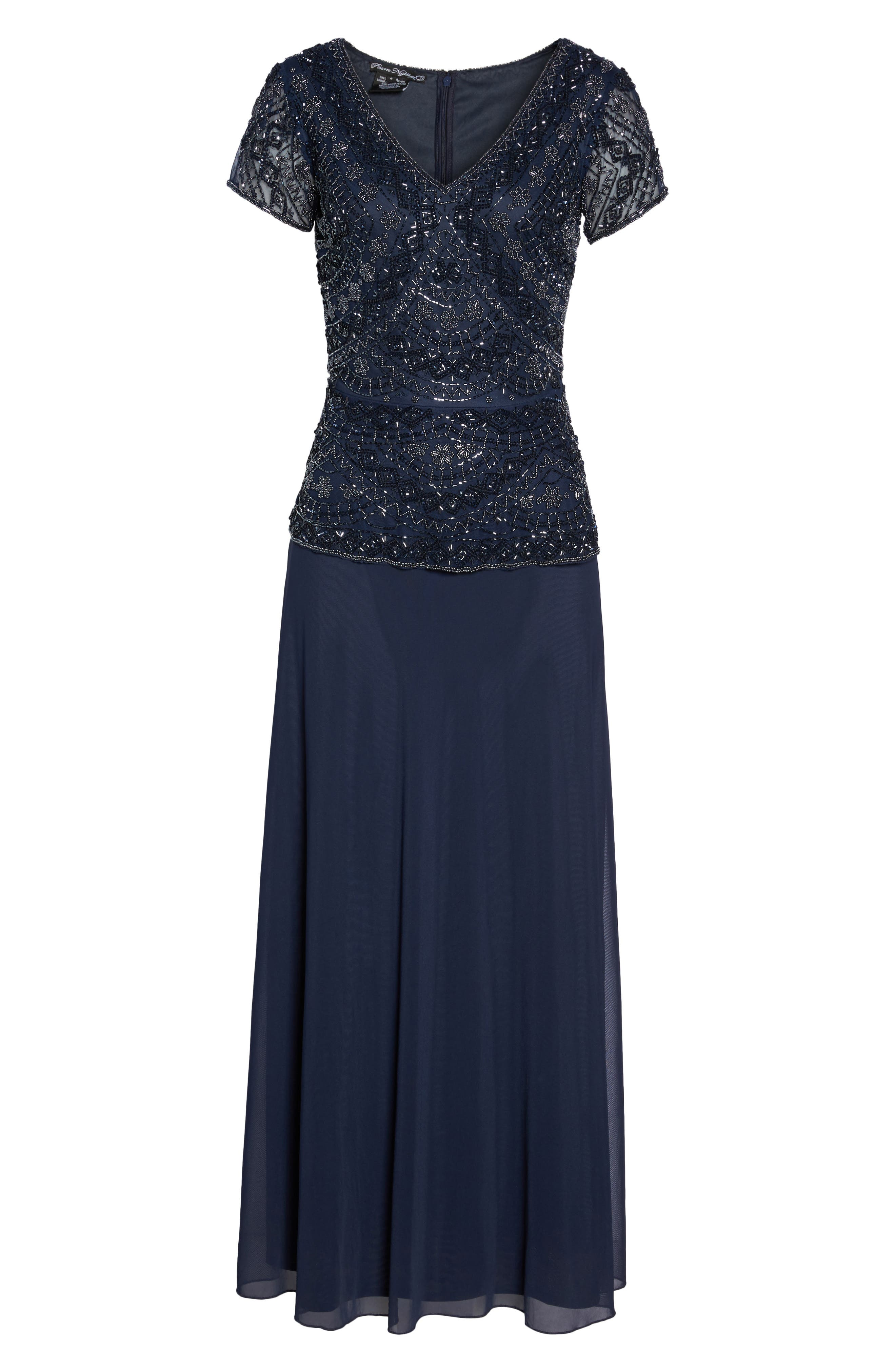 ,                             Beaded V-Neck Mock Two-Piece Gown,                             Alternate thumbnail 7, color,                             NAVY