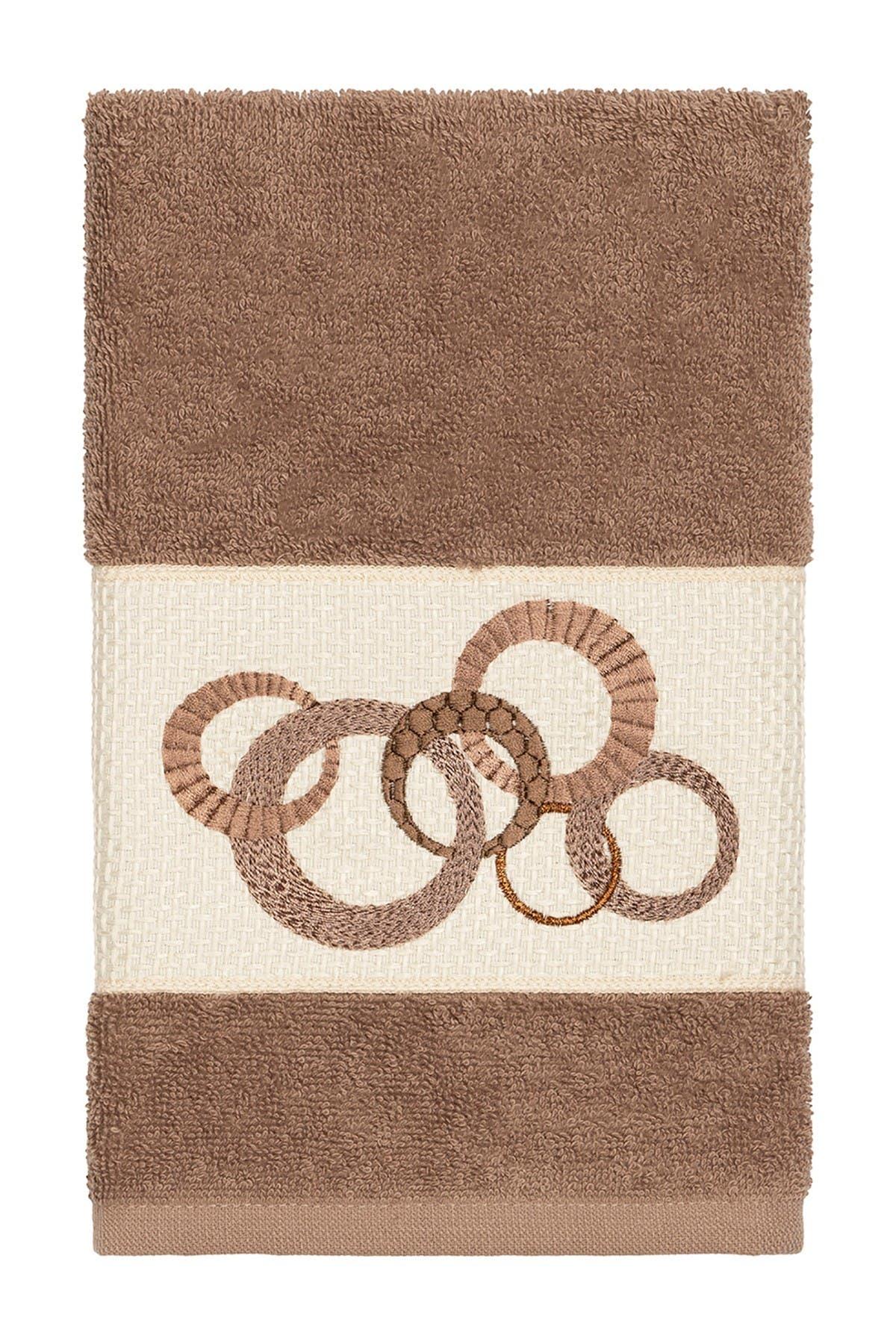 Image of LINUM HOME Annabelle Embellished Hand Towel - Latte