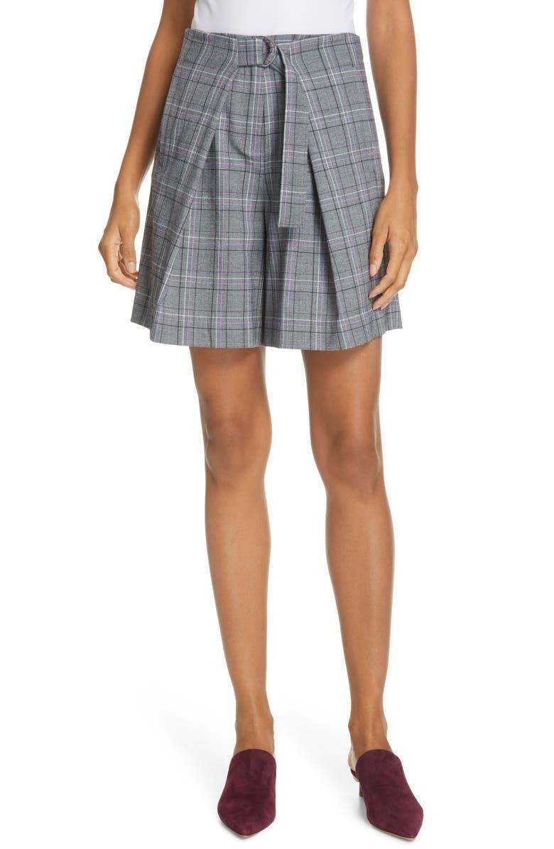 TIBI James Menswear Check Pleated Shorts, Main, color, BLACK/ LAVENDER MULTI