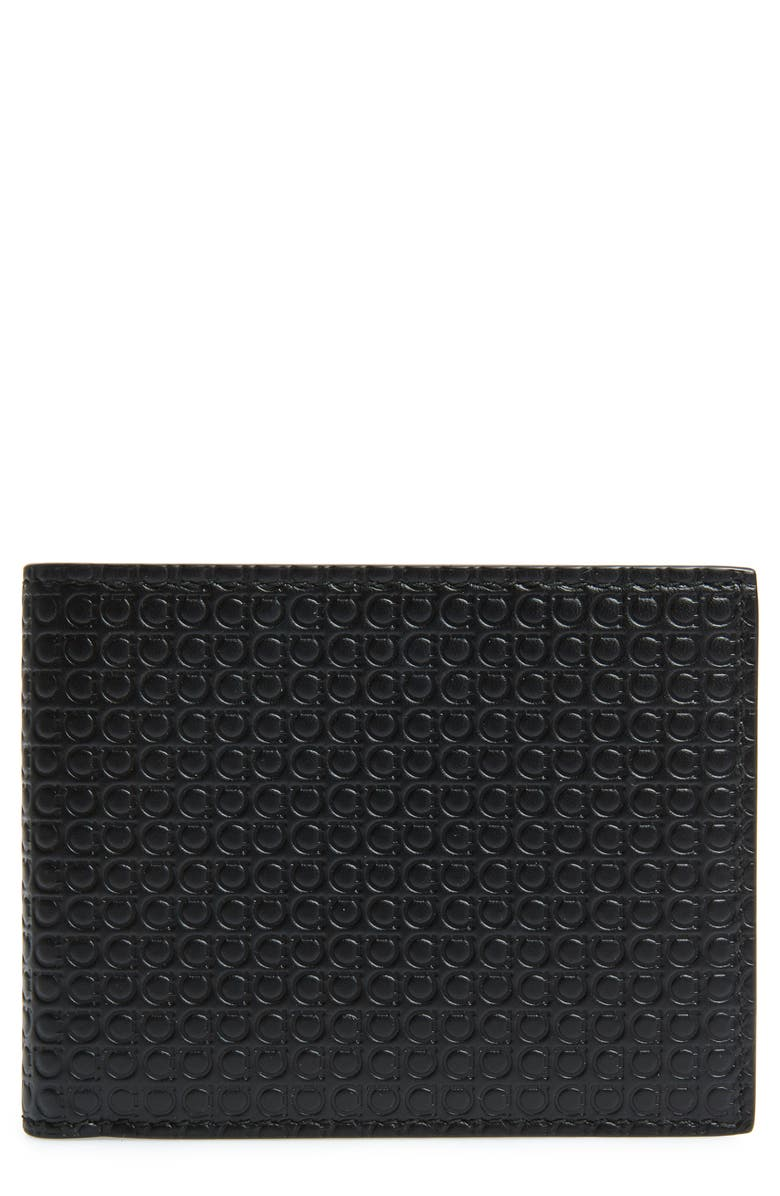 SALVATORE FERRAGAMO Leather Wallet, Main, color, BLACK