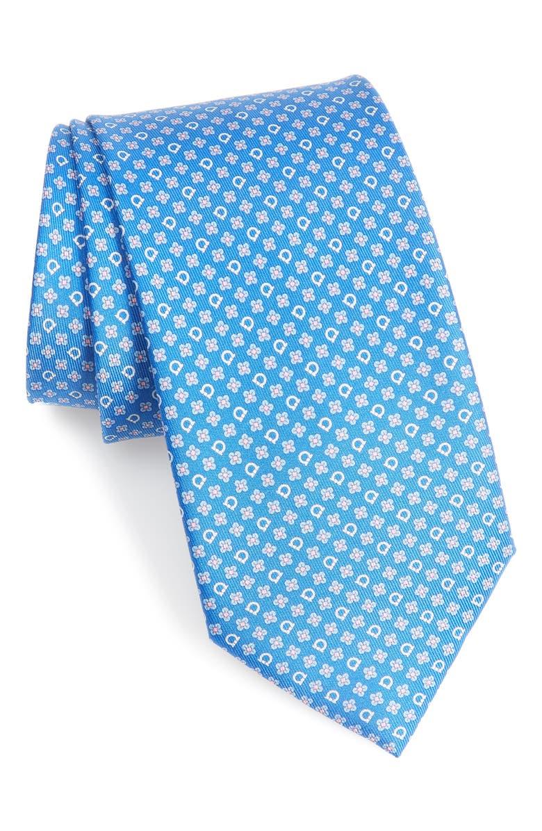 SALVATORE FERRAGAMO Micro Geo Print Silk Tie, Main, color, 492