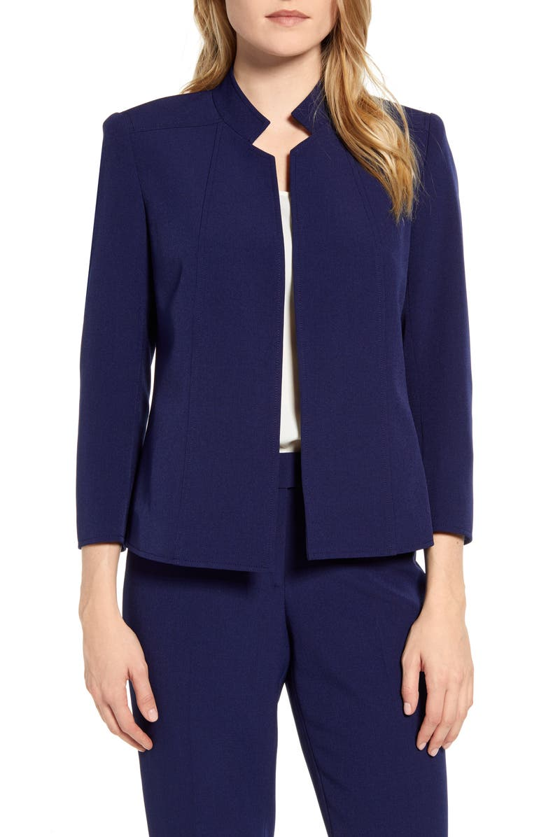 ANNE KLEIN Stand Collar Crepe Jacket, Main, color, DISTANT MOUNTAIN