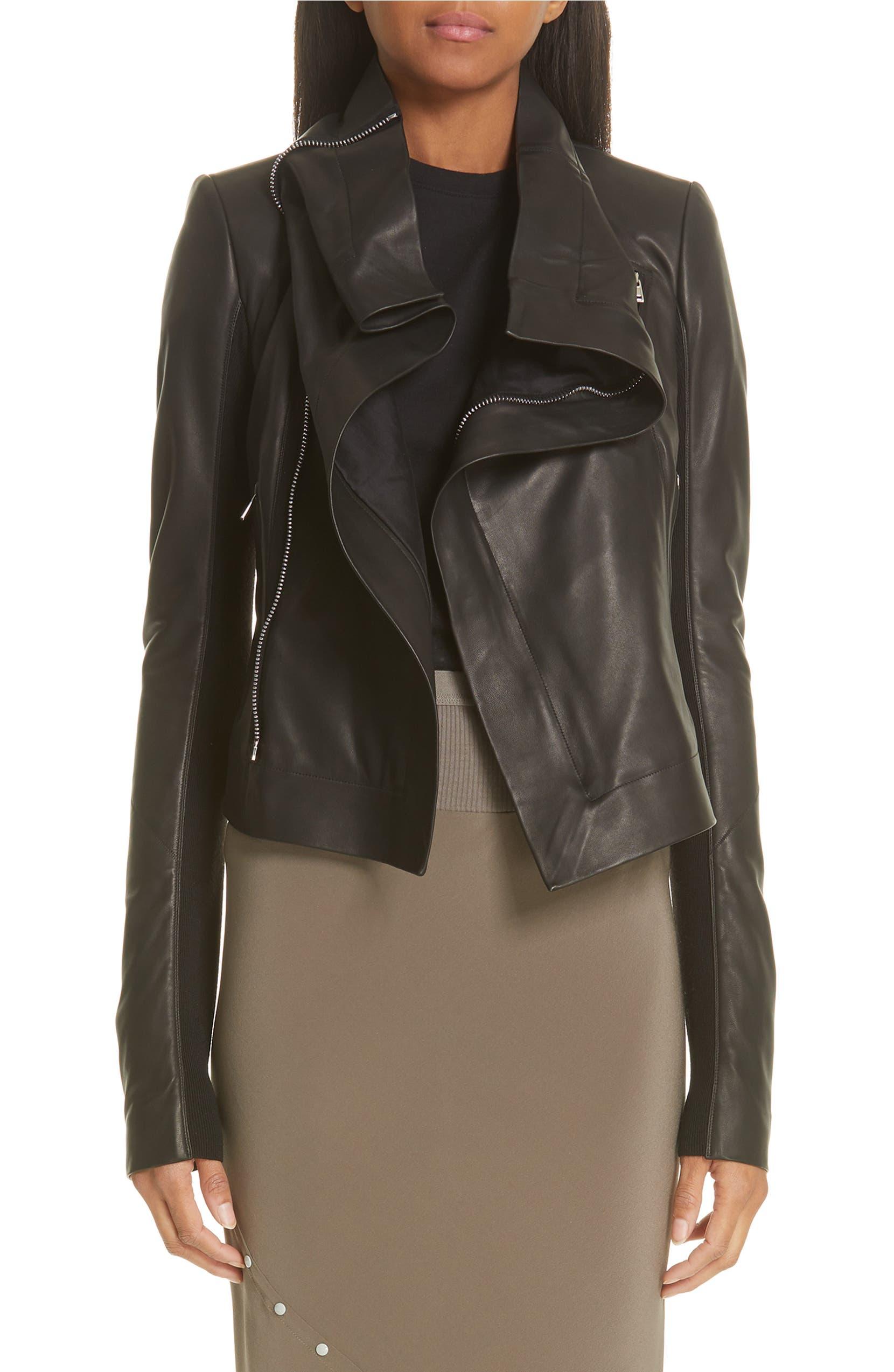 e0f443250 Rick Owens Classic Leather Biker Jacket | Nordstrom