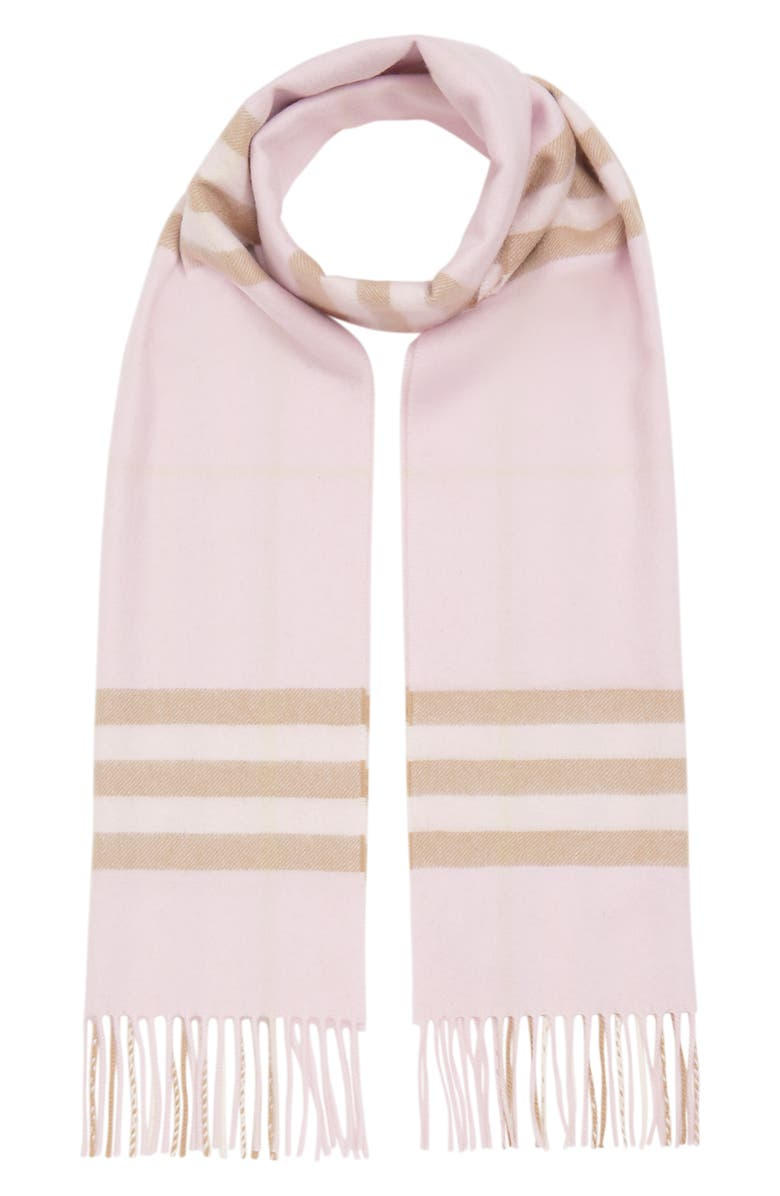 BURBERRY Heritage Giant Check Fringed Cashmere Muffler, Main, color, ALABASTER