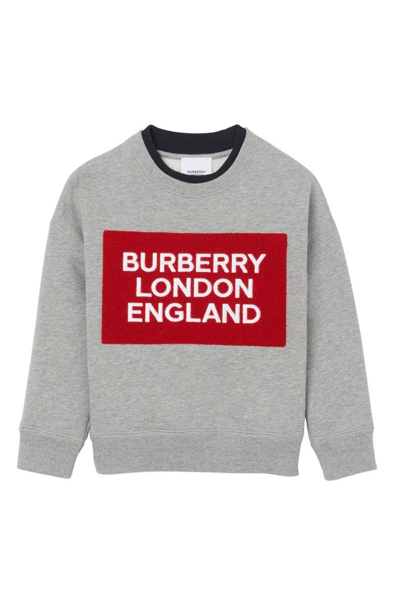 BURBERRY Fabbio Logo Patch Sweatshirt, Main, color, GREY MELANGE