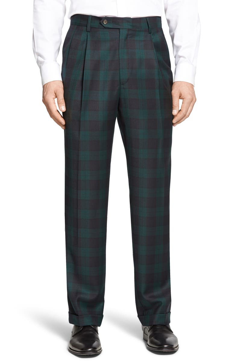 BERLE Pleated Classic Fit Plaid Wool Trousers, Main, color, GREEN