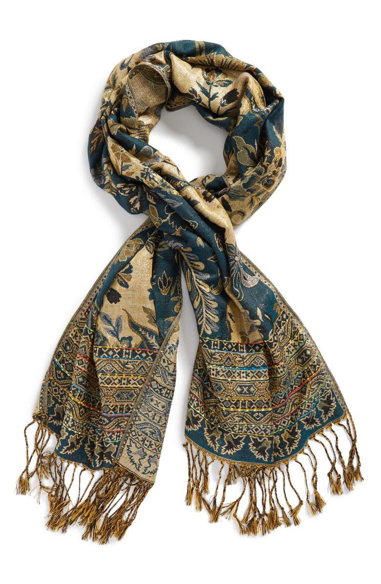 TILDON Metallic Tapestry Scarf, Main, color, 410
