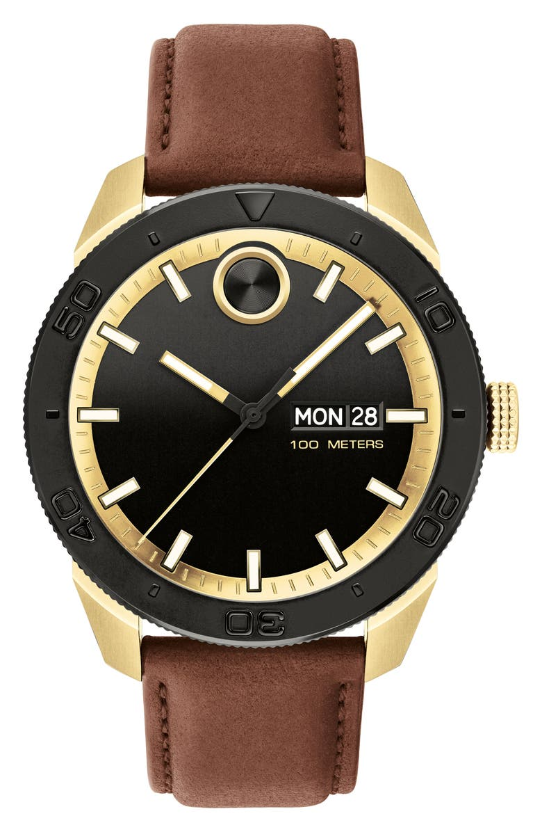 MOVADO Bold Sport Leather Strap Watch, 43.5mm, Main, color, COGNAC/ BLACK/ GOLD