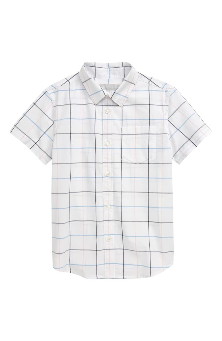 NORDSTROM Poplin Button-Up Shirt, Main, color, WHITE- BLUE WINDOWPANE