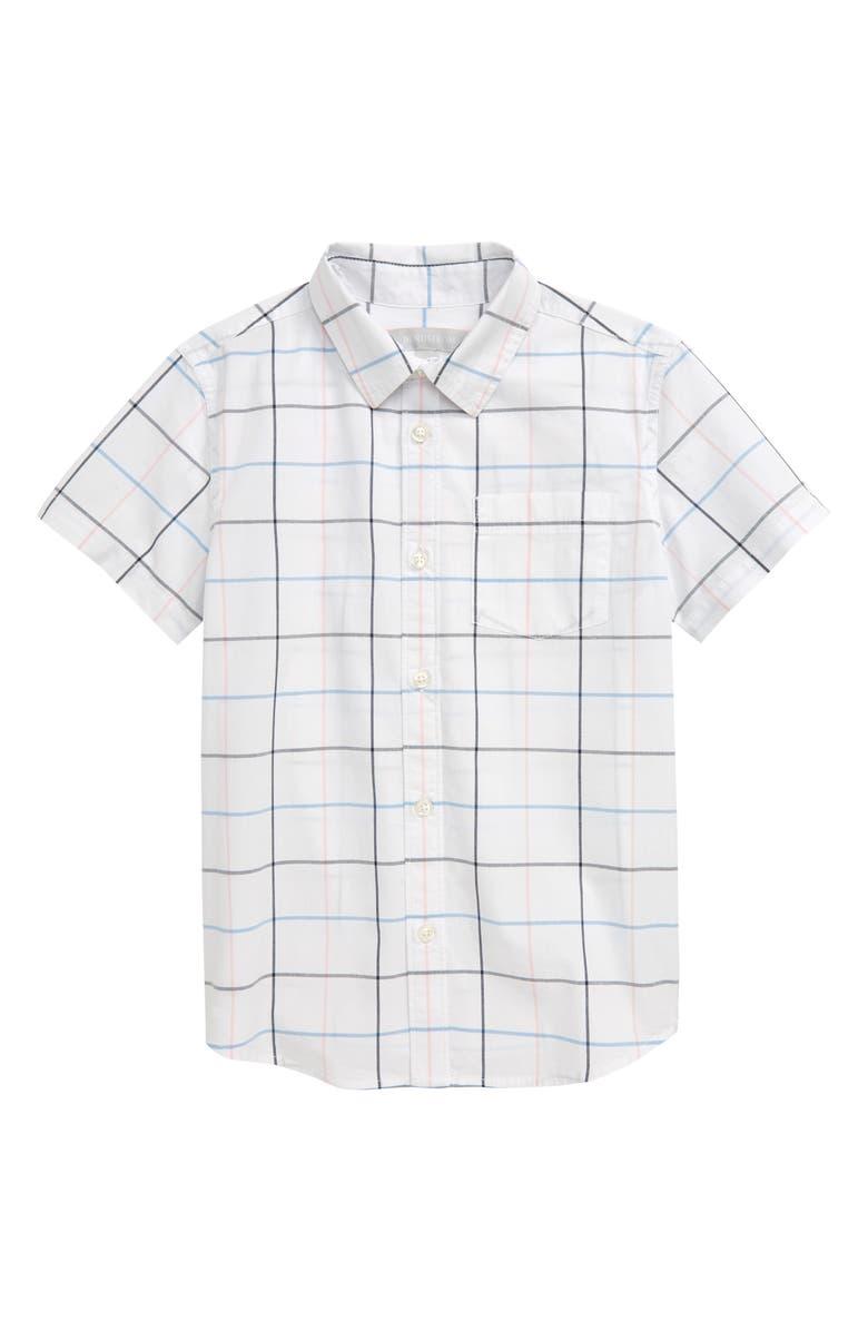 NORDSTROM Short Sleeve Poplin Shirt, Main, color, 100