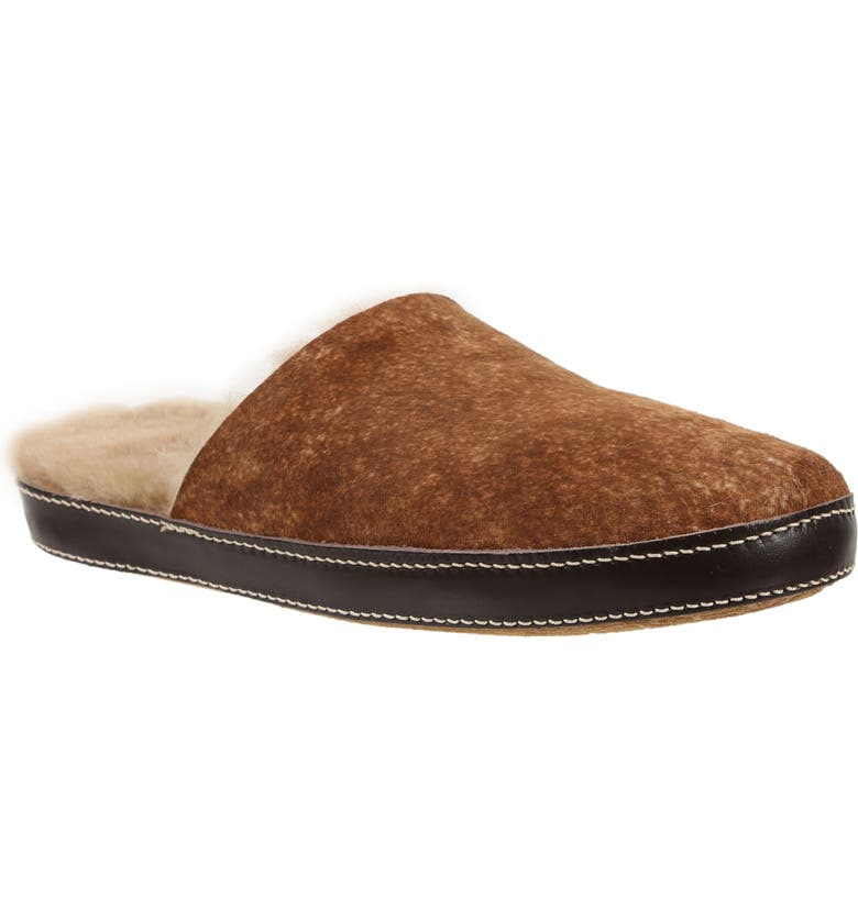 ROSS & SNOW Treviso Genuine Shearling Slipper, Main, color, STONE WASHED COGNAC