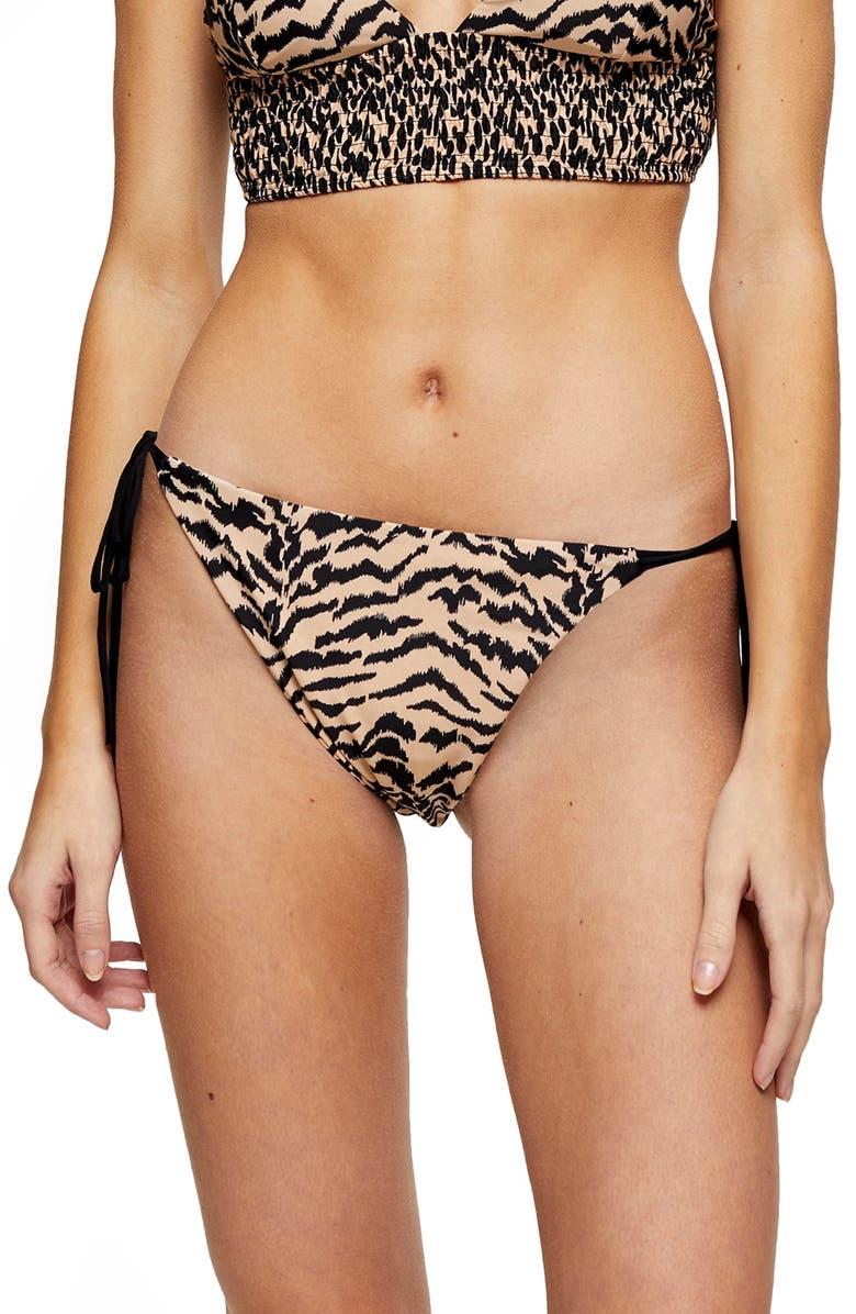 TOPSHOP Animal Reversible Bikini Bottoms, Main, color, NUDE MULTI