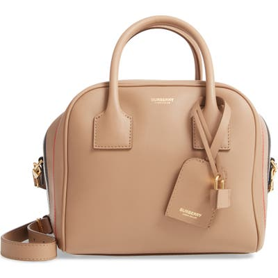 Burberry Small Leather Cube Bag - Beige