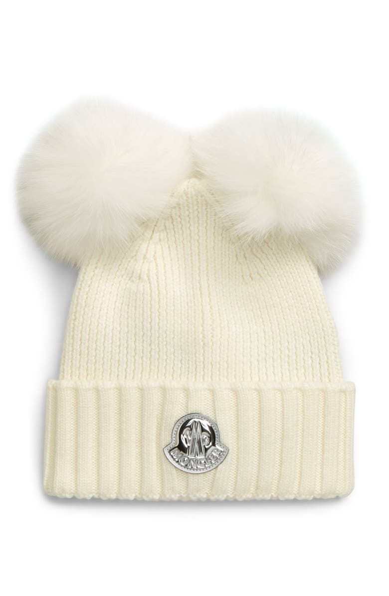 MONCLER Berretto Wool Beanie with Genuine Fox Fur Poms, Main, color, WHITE