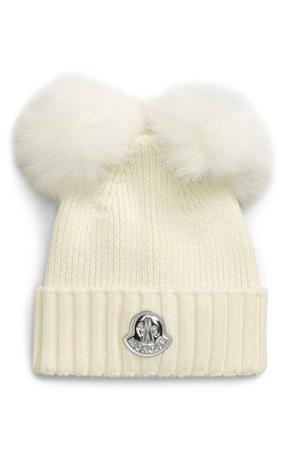 Moncler BERRETTO WOOL BEANIE WITH GENUINE FOX FUR POMS