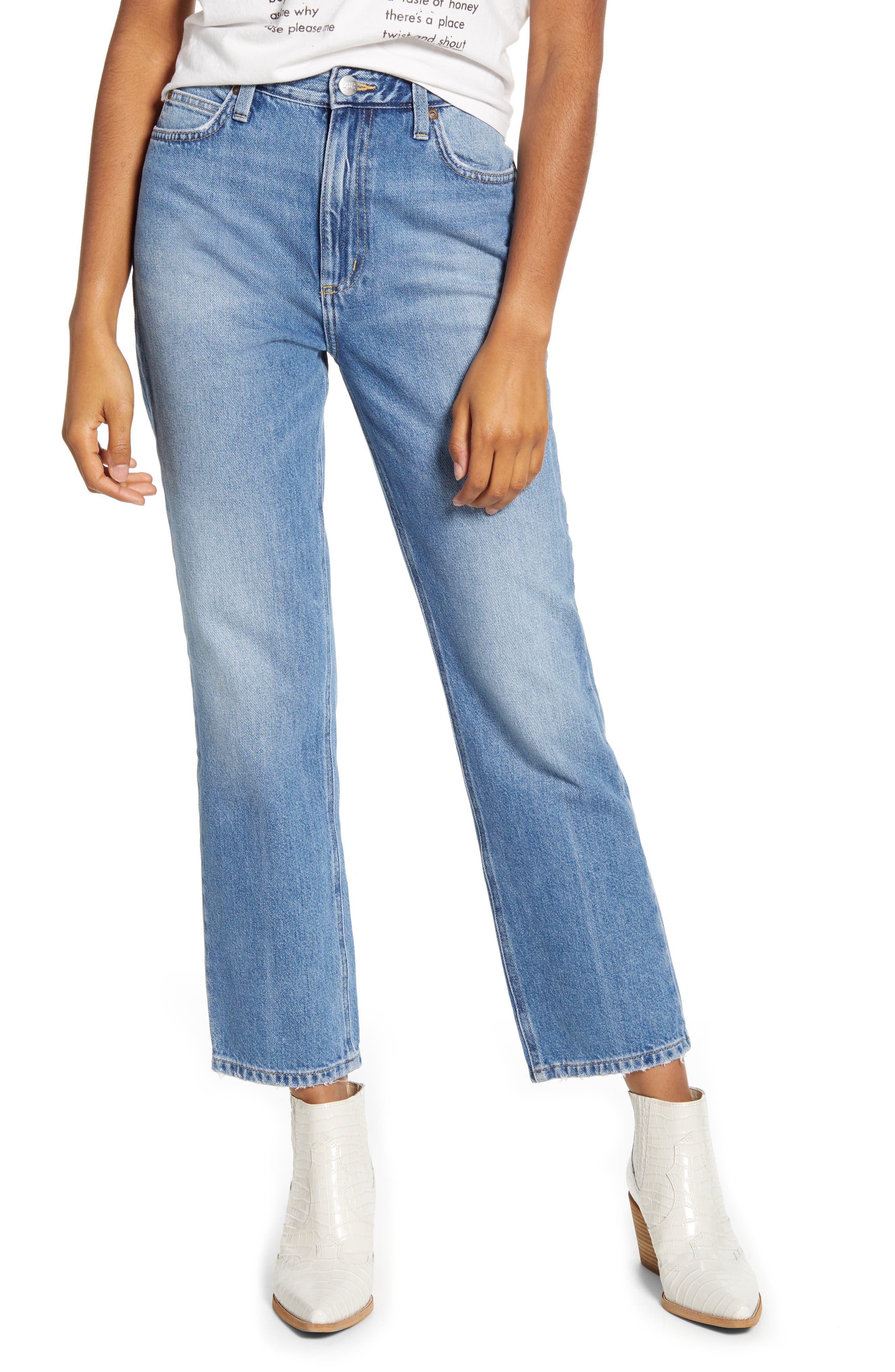 High Waist Straight Leg Ankle Jeans